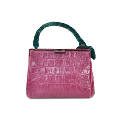 Miu miu purple crocodile embossed velvet trim bag 2