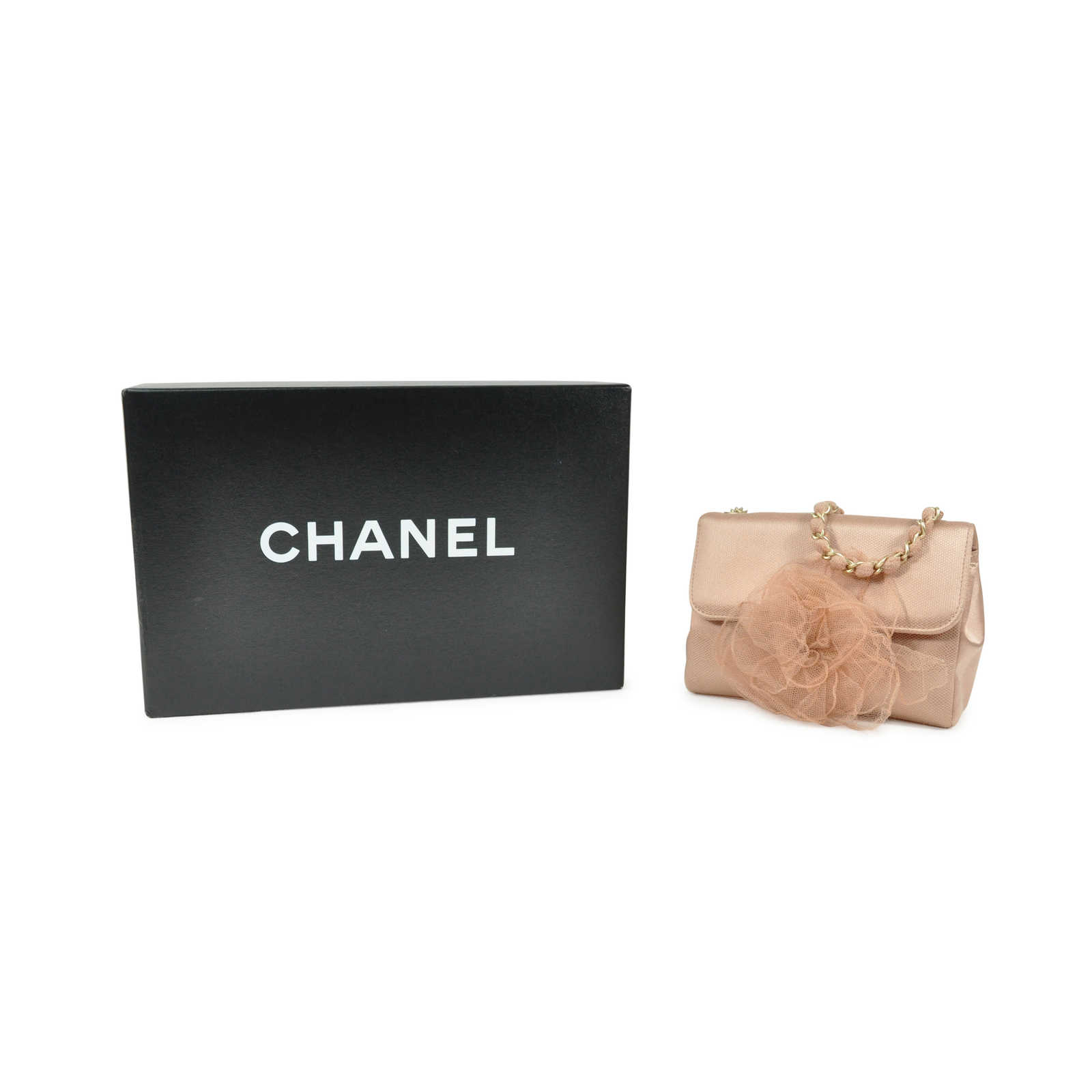 272a6313f49a ... Authentic Second Hand Chanel Mesh Overlay Satin Crossbody Bag  (PSS-200-00490)
