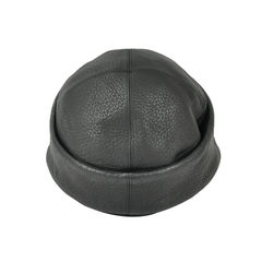 Hermes black leather hat 2
