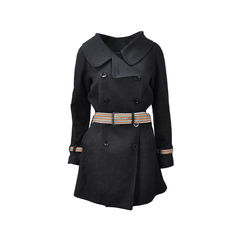 Black Textured Trench Coat