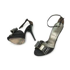 Salvatore ferragamo black bow detail peep toe platform pumps 2