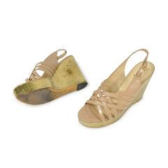 Yves saint laurent yves saint laurent leather sculpted wedge sandals 2