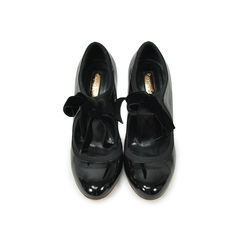 Patent and Velvet Bow Pumps
