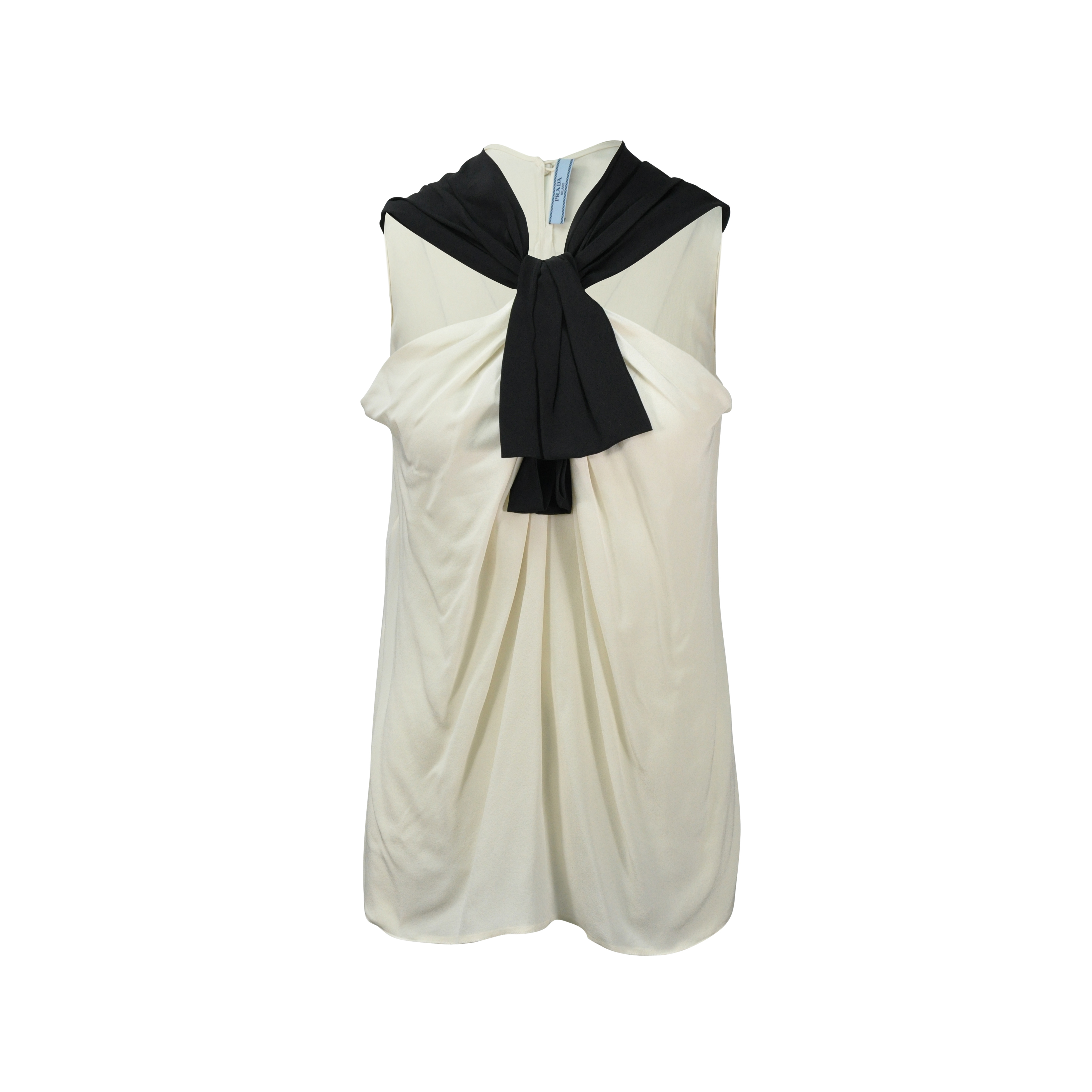 775a47c4c97e5 Authentic Second Hand Prada Tie Neck Silk Top (PSS-080-00114)