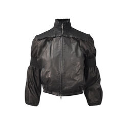 Leather Smocked Bomber Jacket