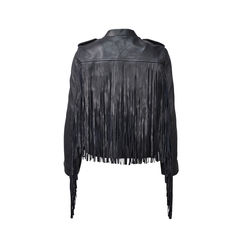 Maje blue leather jacket with fringe 2