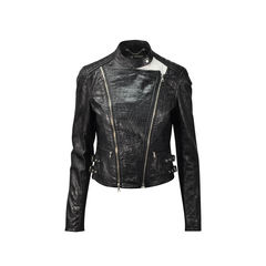 Croc-Embossed Leather Moto Jacket