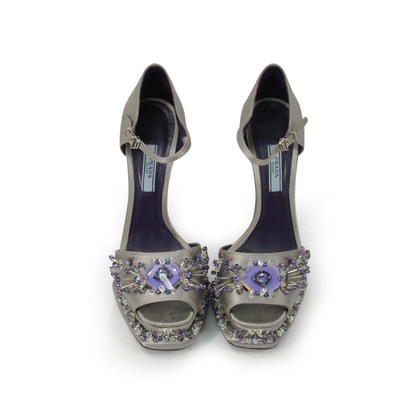 Authentic Second Hand Prada Flower Crystal Studded Heels (PSS-303-00001)