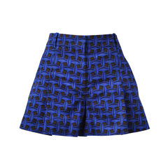 Pleated Blue Print Shorts