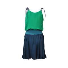 Halston heritage shoulder tie colourblock dress 2