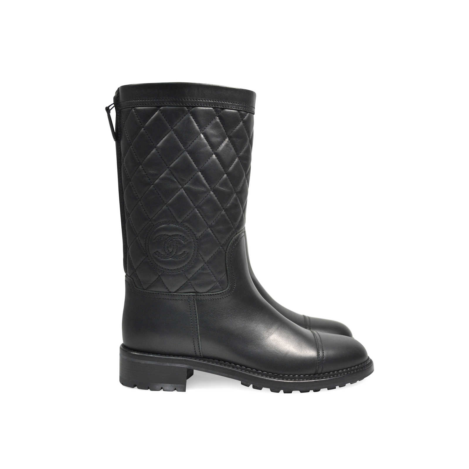 Second Hand Chanel Cc Quilted High Zip Boots The Fifth Collection
