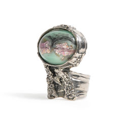 Yves saint laurent arty oval ring green 2