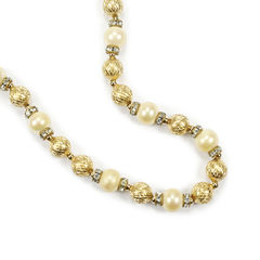 Christian dior pearl and gilt necklace 2