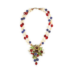 Molded Glass and Crystal Double Strand Necklace