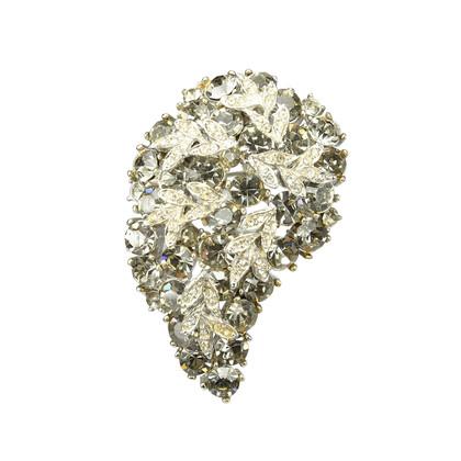 Authentic Vintage (unbranded) Leaf Embedded Crystal Brooch (PSS-226-00007)