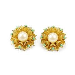 Faux Pearl Flower Earrings