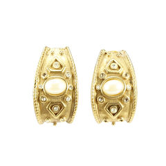 Faux Pearl Gilt Metall Earrings