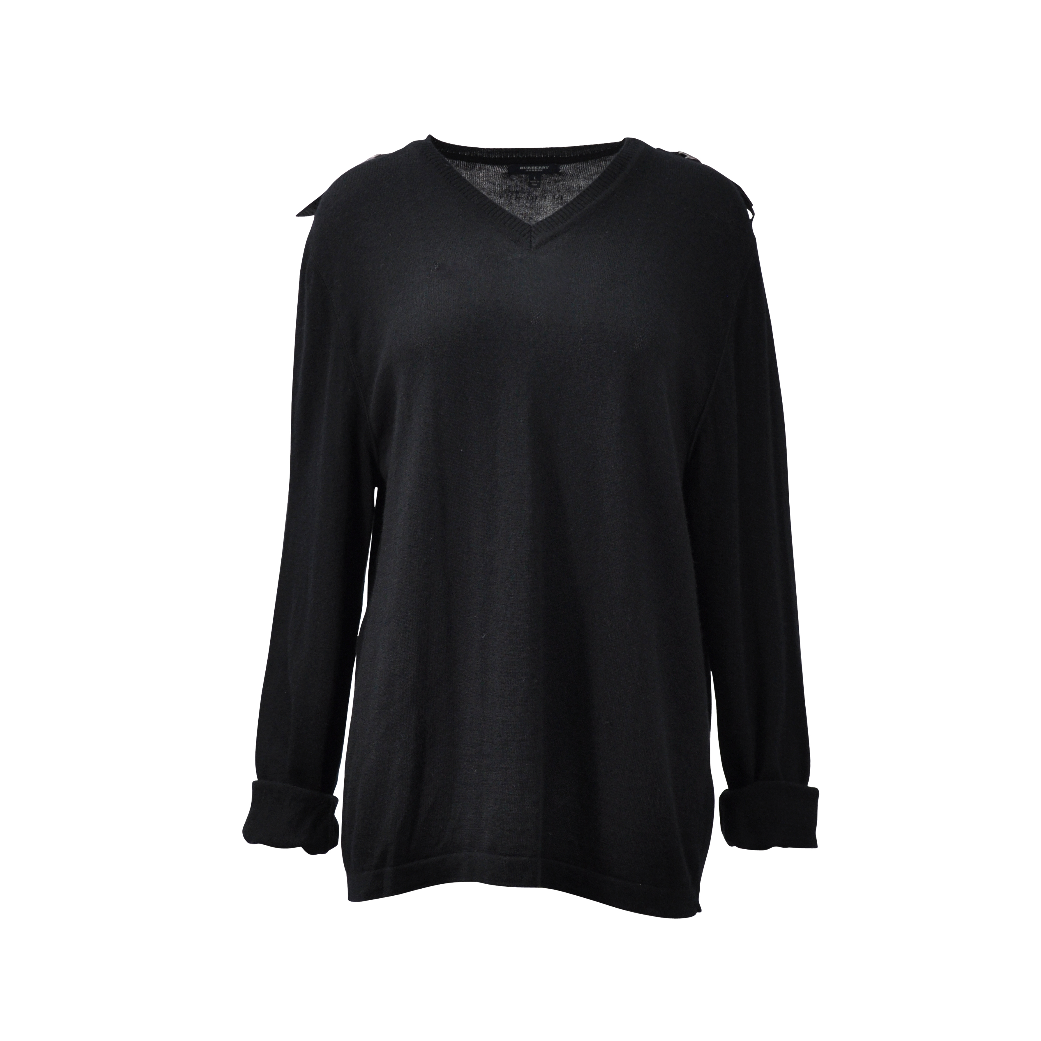 bf93e1200eba Authentic Second Hand Burberry Black V-neck Sweater (PSS-200-00438) - THE  FIFTH COLLECTION