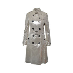 Metallic Double Breasted Trench Coat