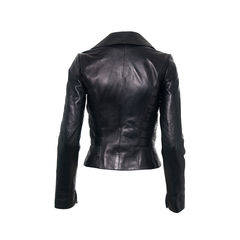 Jitrois black leather jacket with applique details 2