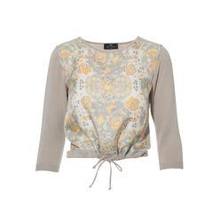 Printed Silk Panel Sweater