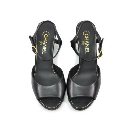 Chanel Calfskin Pearl Wedge Sandals