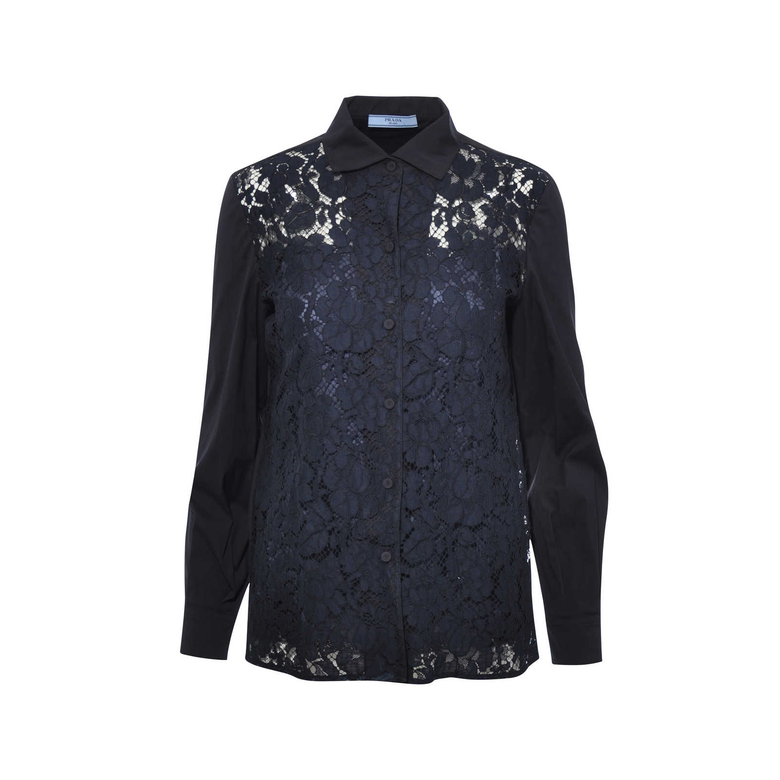 Authentic Second Hand Prada Lace Button Down Blouse (PSS-051