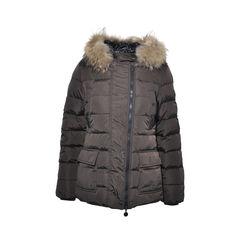 Brown Down Jacket with Fur Hood