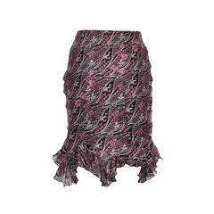 Chloe ruffles silk print skirt 2