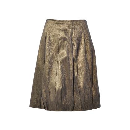 Authentic Second Hand Dries Van Noten Pleated Gold Metallic Skirt (PSS-265-00081)