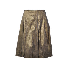 Pleated Gold Metallic Skirt
