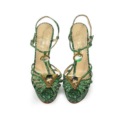Charlotte Olympia Emerald Deco Leading Lady Sandals