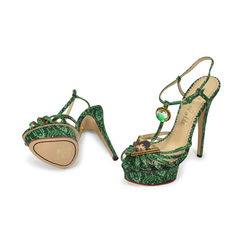 Charlotte olympia green havanna print ankle srap sandals 2