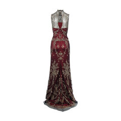 Vera wang gold thread embroidered sleeveless dress 2?1490776719