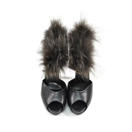 Hermes Fox Fur Trim Sandals
