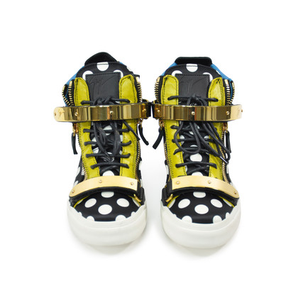 Authentic Second Hand Giuseppe Zanotti London Polka Dot Satin Hi Top Sneakers (PSS-200-00741)