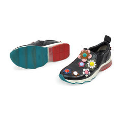 Fendi black leather sneakers with multicolour applique flowers 2?1491383692