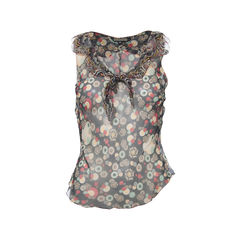 Printed Sheer Sleeveless Top