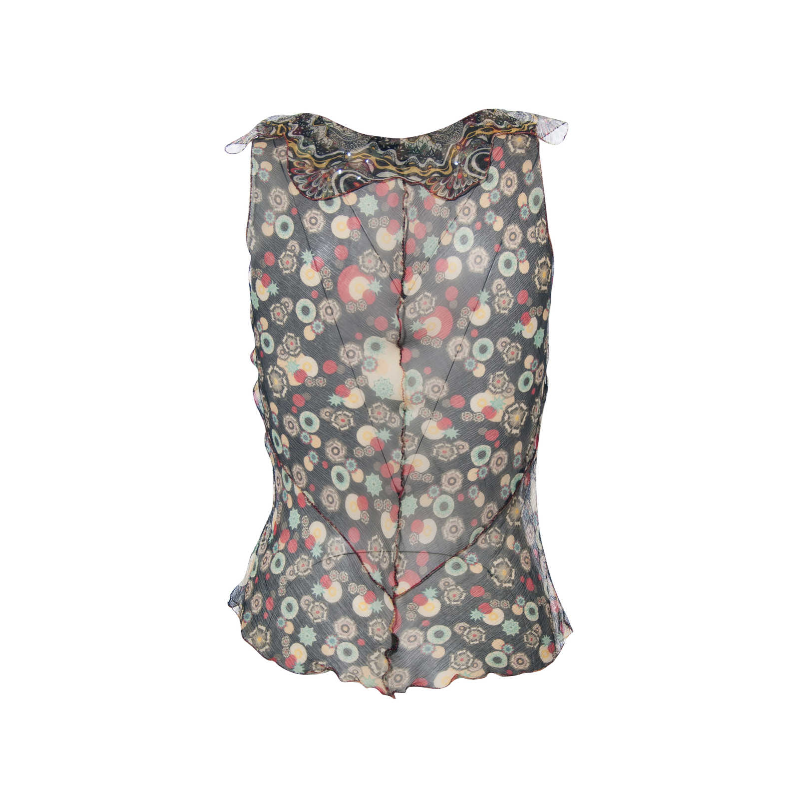 f484b59e5e2f1 ... Authentic Second Hand Rozae Nichols Printed Sheer Sleeveless Top  (PSS-265-00105) ...