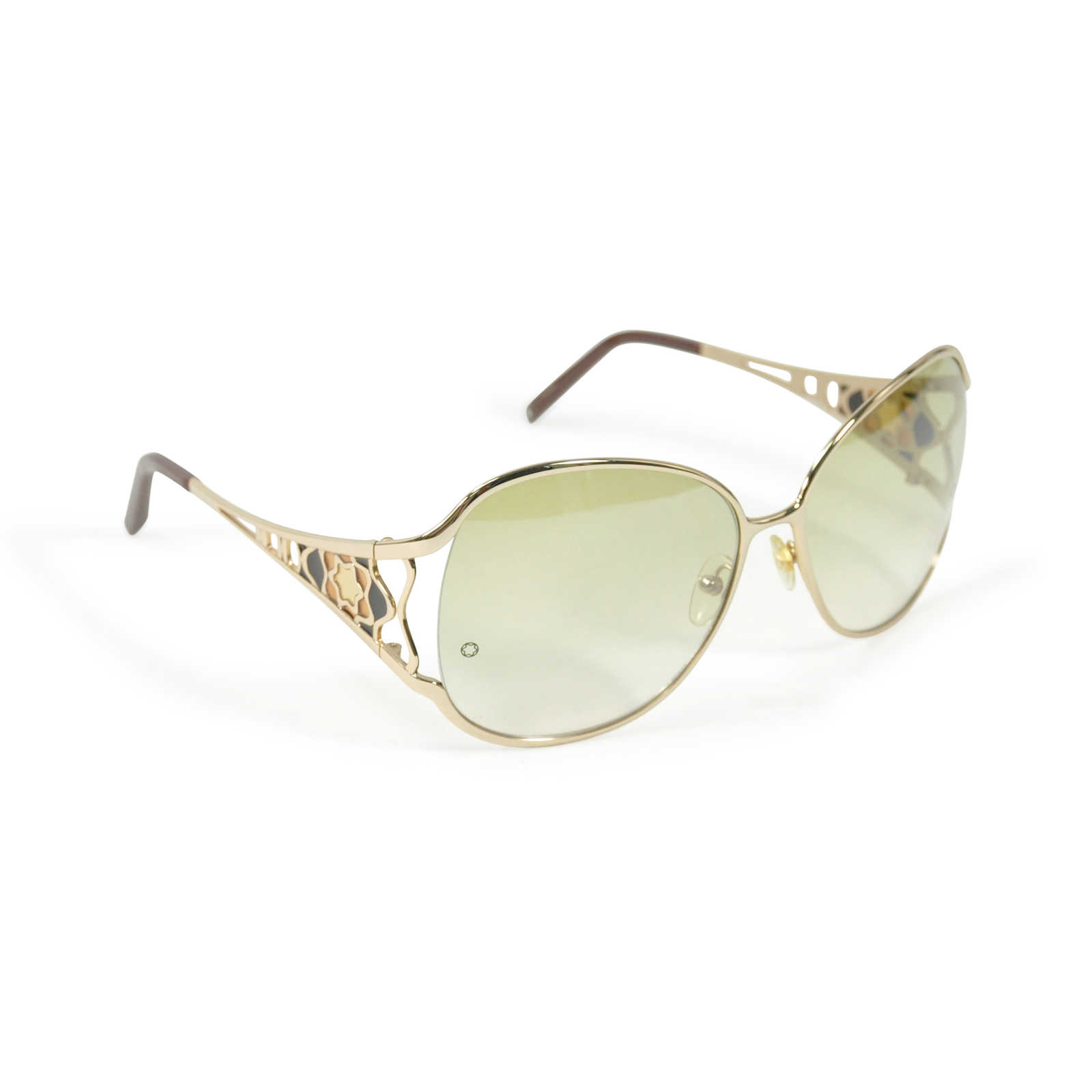 8b5244f649d8a ... Authentic Second Hand Mont Blanc Gold Squared Sunglasses (PSS-200-00411)  ...
