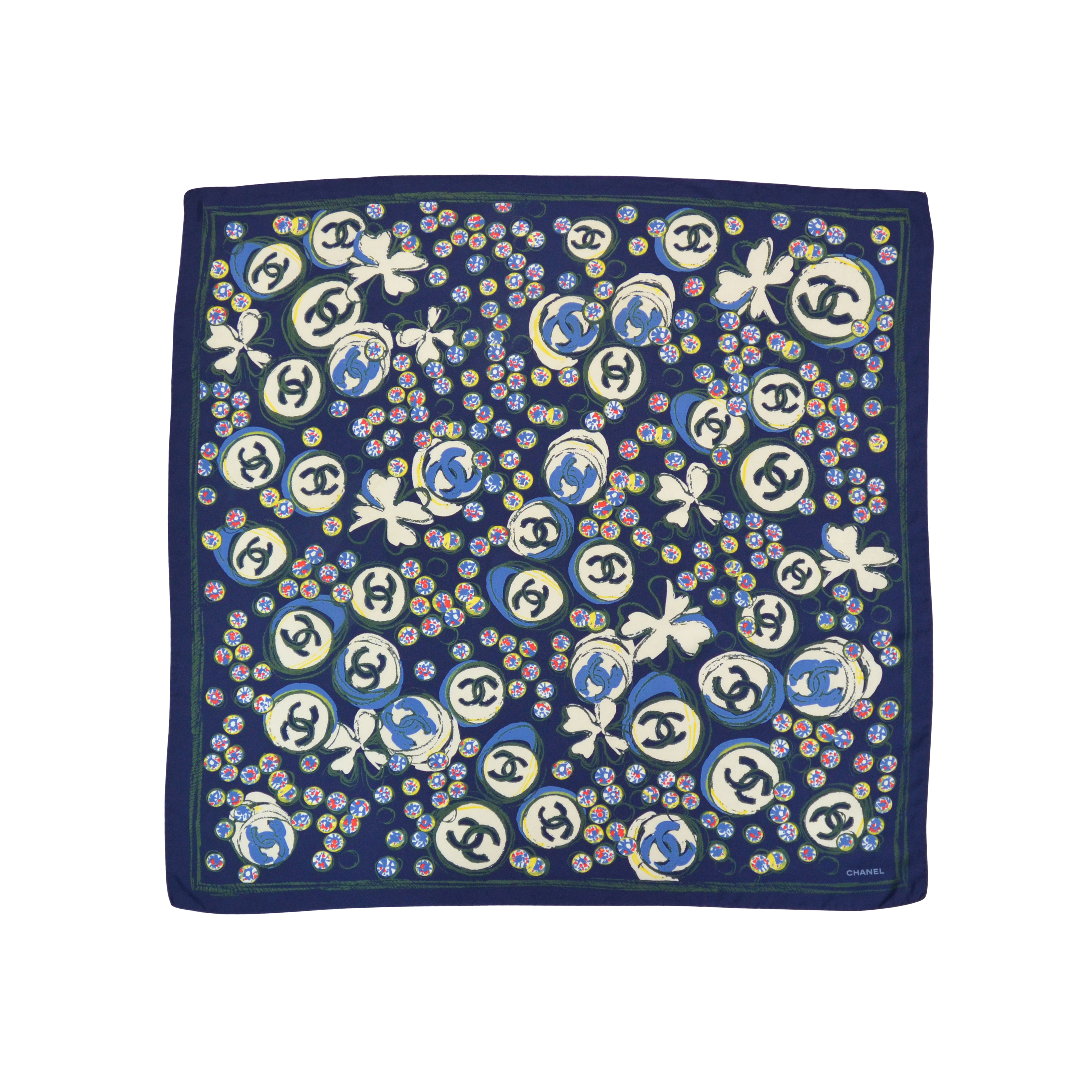 9d145f8f00b Authentic Second Hand Chanel Clover Logo Silk Scarf (PSS-052-00012 ...