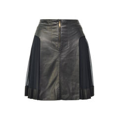 Pleated Side Lambskin Skirt