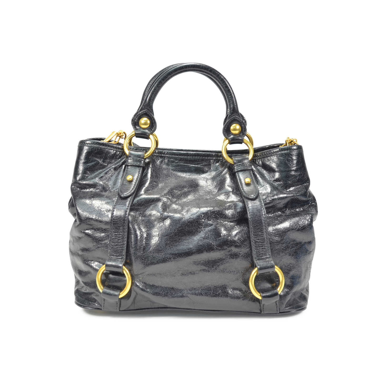 f0456ce4780d ... Authentic Second Hand Miu Miu Vitello Shine Satchel Bag (PSS-320-00007)  ...