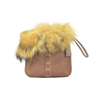 Authentic Second Hand Coach Fur Trim Pouch (PSS-320-00011)