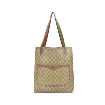 80d586e02b9268 Authentic Vintage Gucci Monogram Canvas Tote Bag (PSS-327-00006) | THE