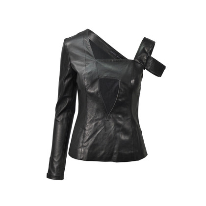 Authentic Second Hand Anthony Vaccarello Asymmetrical Leather Top (PSS-200-00476)