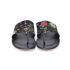 Black Floral Canvas Sandals