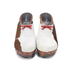 Cow Print Pony Hair Clogs