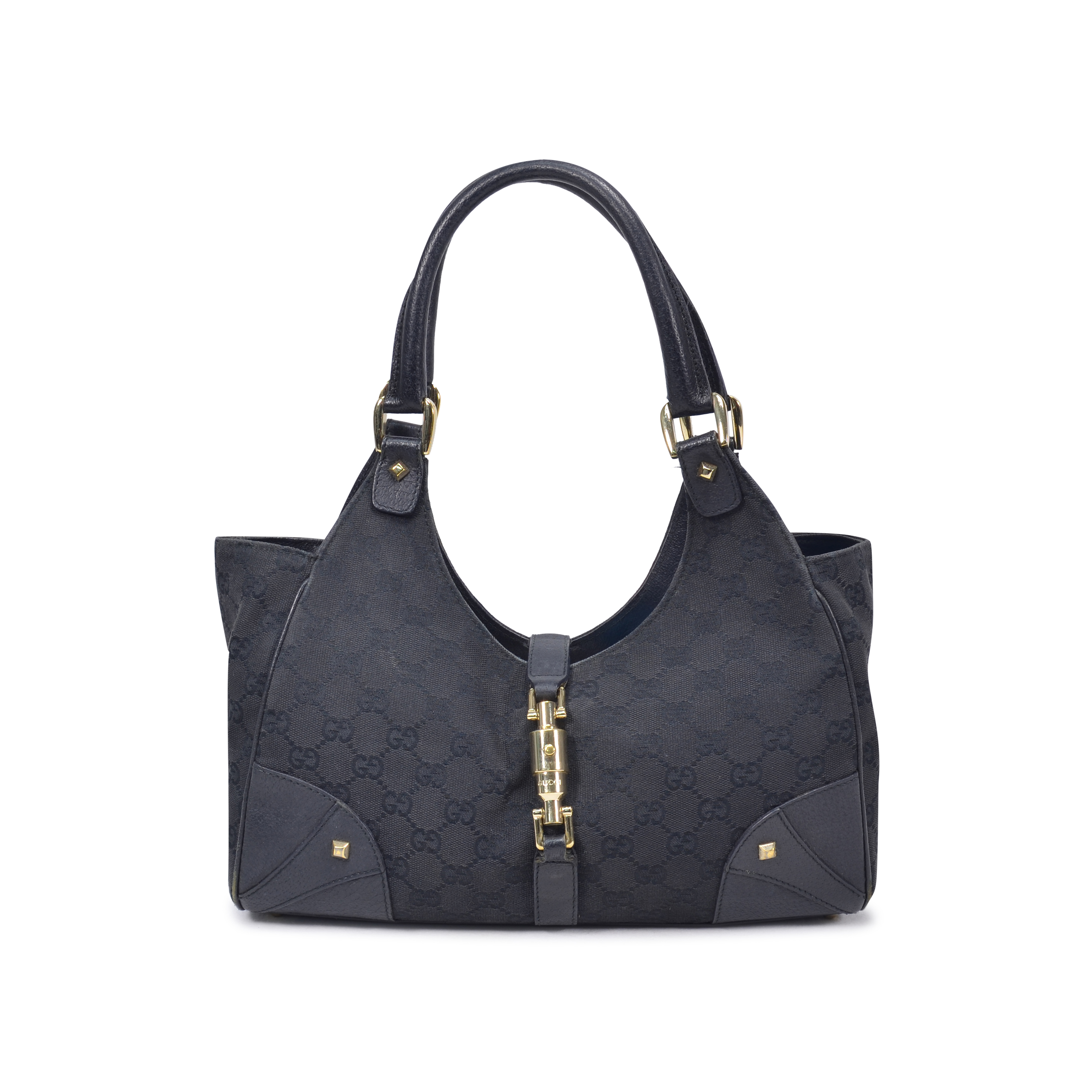 918a9b8fc3f4 Authentic Second Hand Gucci Black Monogram Canvas Shoulder Bag  (PSS-325-00001) | THE FIFTH COLLECTION
