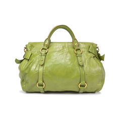 Miu miu vitello lux bow bag green 1